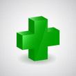 image représentant la croix verte symbole de la Santé en 3D