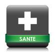 image du symbole de SANTE avec la croix blanche et le mot SANTE sur bande verte
