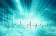 image représentant les battement de coeur dans un patient sur fond bleu