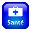 image représentant une valise de soins où c'est marqué santé en blanc sur fond bleu