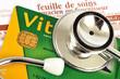 image contenant une feuille de soins assurance santé, une carte vitale et un sthetoscope