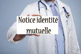 pancarte Notice identité mutuelle portée par un médecin
