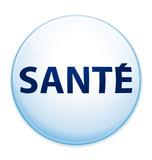 image d'un cercle au contour bleu clair avec le mot SANTE au centre