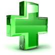 image du symbole de la Santé (croix verte) en trois D
