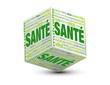 image de cube contenant le mot sante sur 3 faces