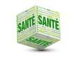 image d'un cube en vert où on voit le mot santé ecrit 3 fois sur les 3 faces du cube