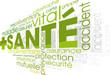 image avec SANTE marqué au milieu entouré de plusieurs mots écrits en vert tel que vital accident assurance etc
